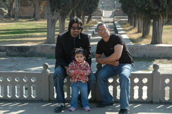 Me, Arif and Baby Reeya at taxila , Mughal Garden.