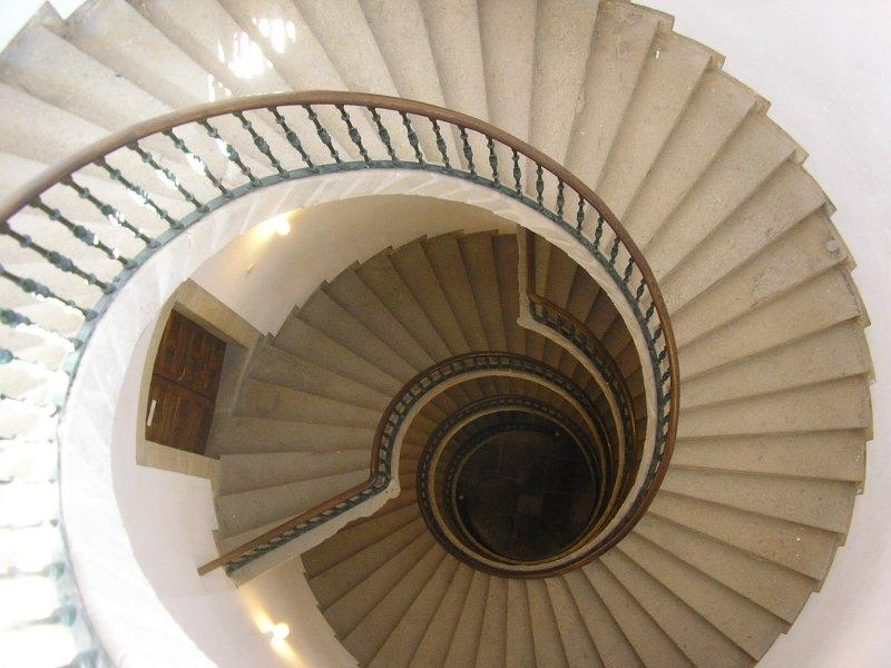 An unusual staircase of three separate spirals.