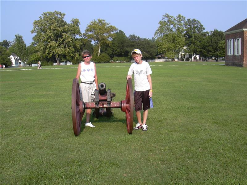 a colonial cannon is fired daily in the summer