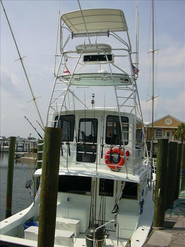 just one of many charter fishing vessels in the marina