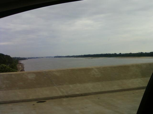 a view of the wide Mississippi river