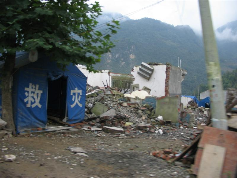 in disaster area--Beichuan