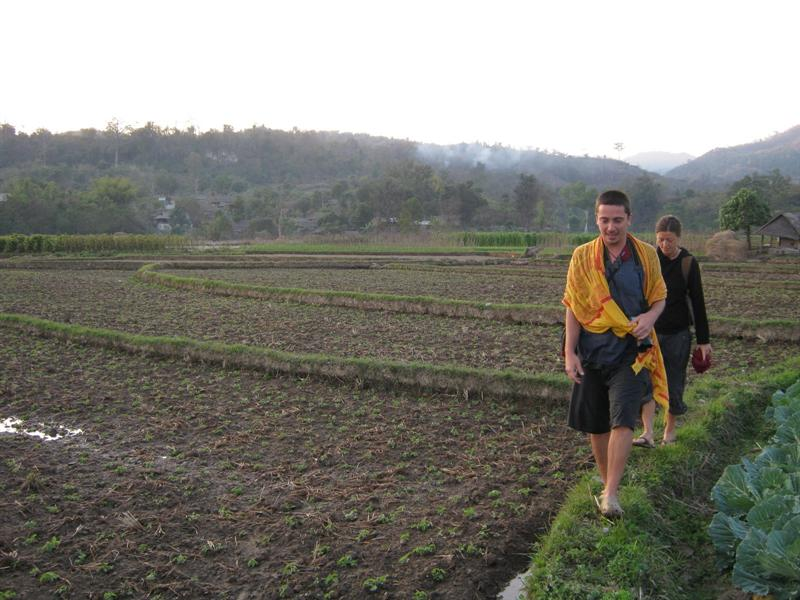 Jerome and Sarah, the French and Italian couple i travelled with for two weeks, loosing our way accross the rice fields