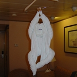 The cute towel monkey animal done by the room servicing crew.
