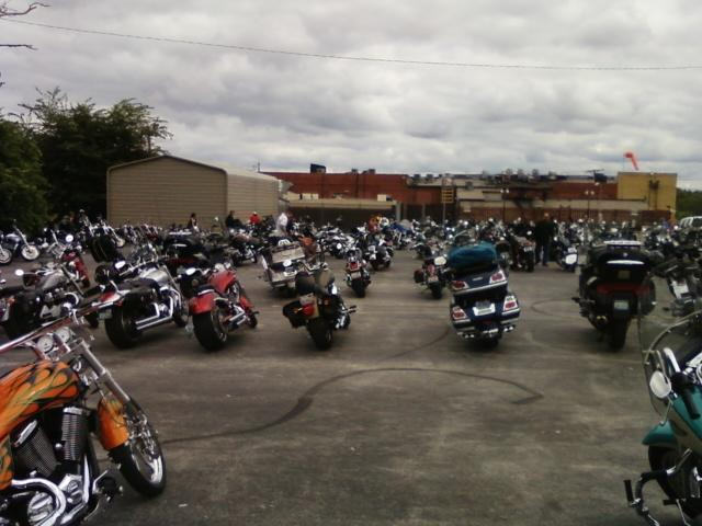 the motorcyclists have their own parking lot and love Fast Eddies