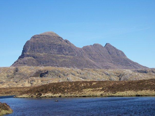 SUILVEN FROM RIVER KIRKAIG, APR 2007