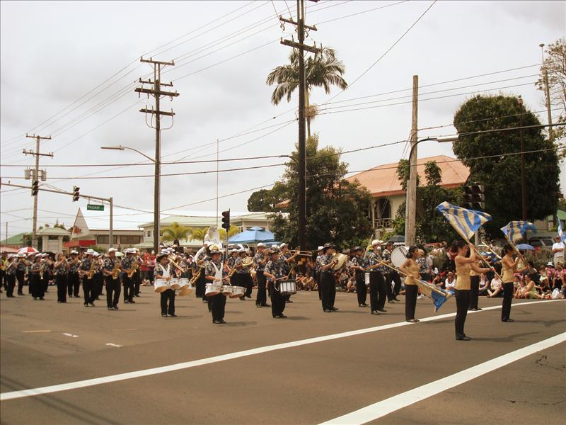 Hilo - Merrie Monarch Parade in which we were walking, too