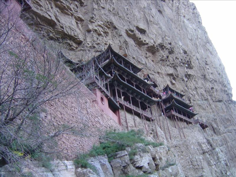 The monastery was built on the cliff of the mountain.