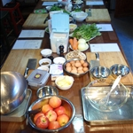 The Hutong kitchen, all set up ready for the German guests