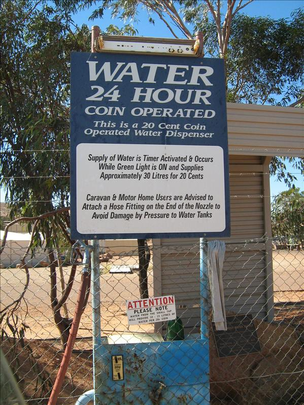 Coin operated water!!  Most expensive water in Australia - $6 something per litre