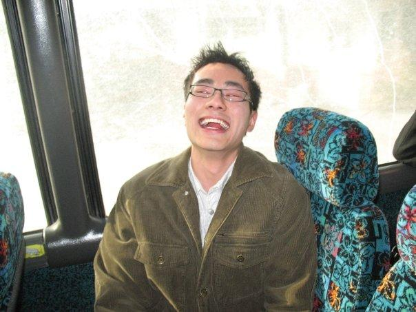 Gabriel laughing on the bus