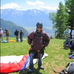Getting geared up to paraglide