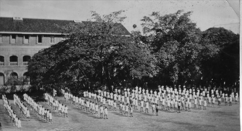Drill at school, Independence Day 15 August 1947