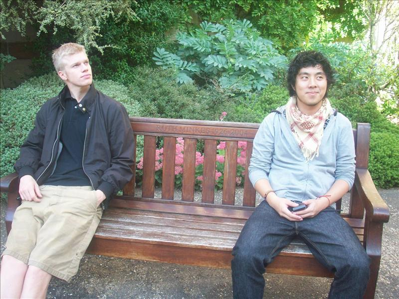 The guys on a bench.