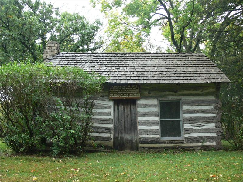 Old cabin in Winterset city park