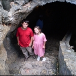 Simon and his sister in a Spanish fort in Colombia