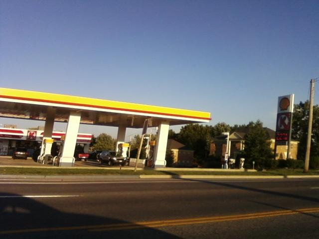 a Shell station for gas, or petrol if you will