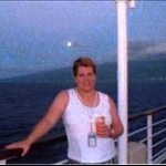 Marilyn, enjoying a cocktail on Tahitian Princess,Cook Islands
