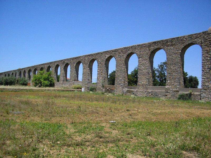 High aqueduct on the edge of town....