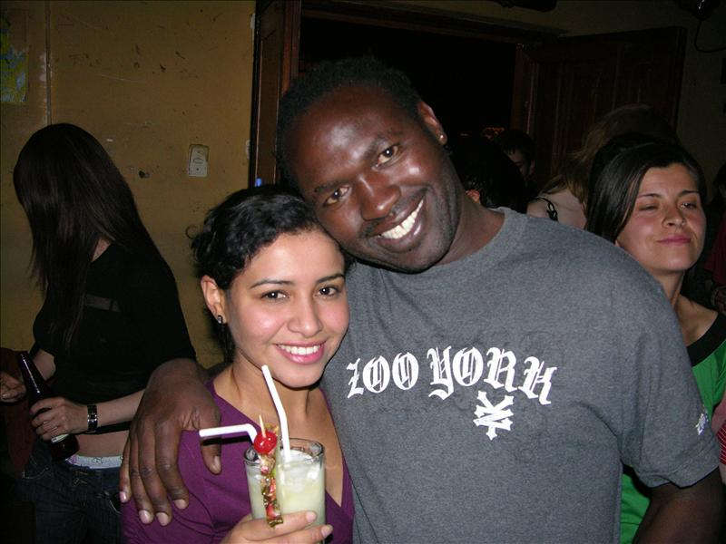 Festus and Oneida, the bartender at Mama Africa.