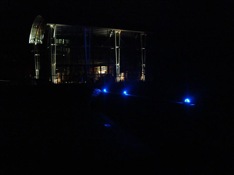 illuminated bridge with blue glimcubes