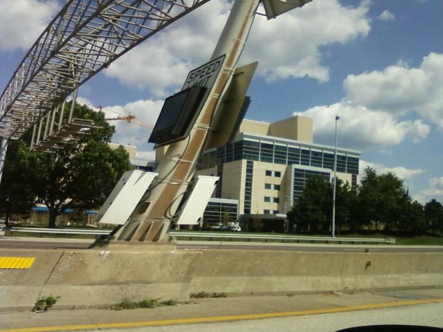 a view from the car at 60 mph of a hospital in I-270