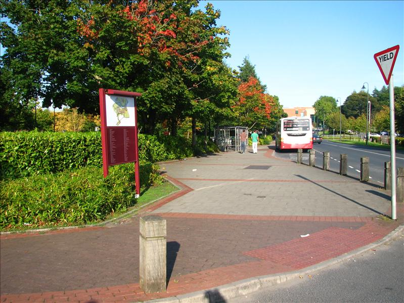 The bus stop on campus