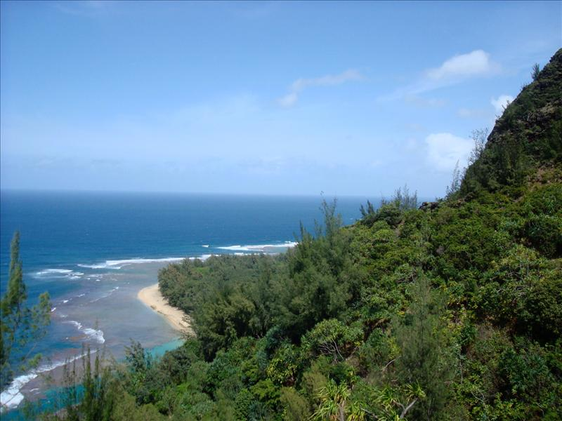 Kauai - Hiking tour, view over Ke'e Beach