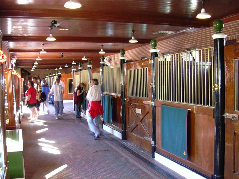 The famous Clydesdales horses have a few stables here, but many others are nearby near the parking area