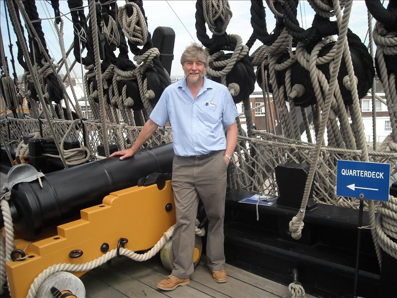 Bob on deck with cannon