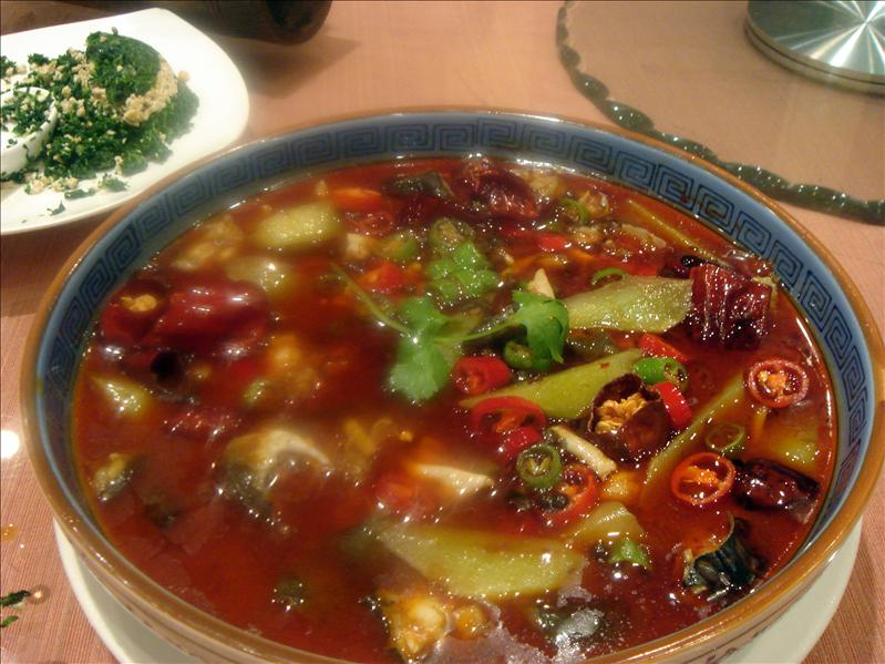 frog meat in spicy soup