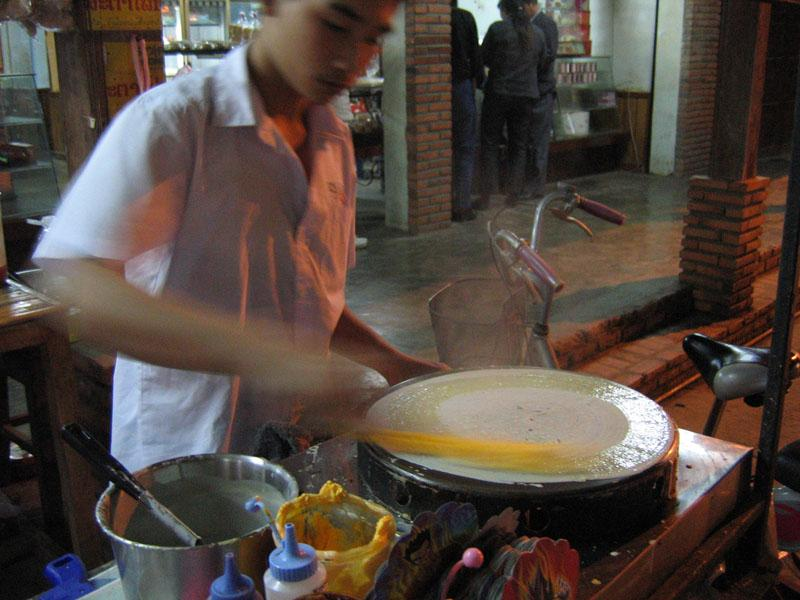 Crepes made fresh on the street.