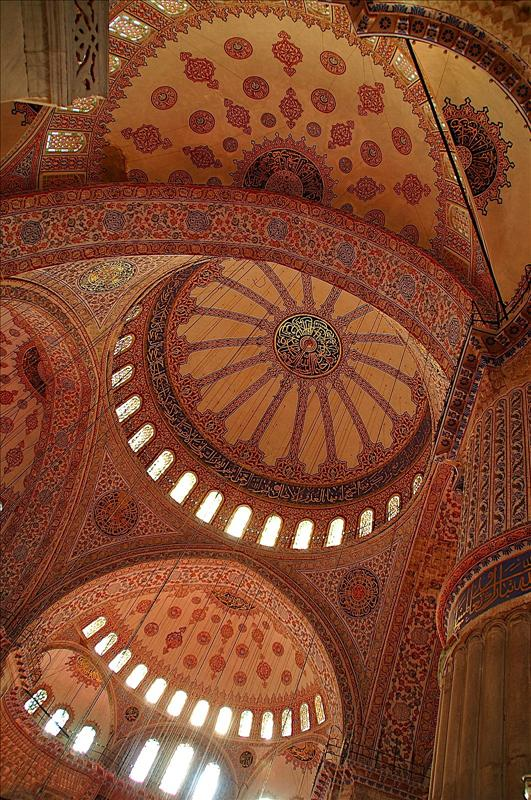 The ceiling of the Blue Mosque of Sultanahmet