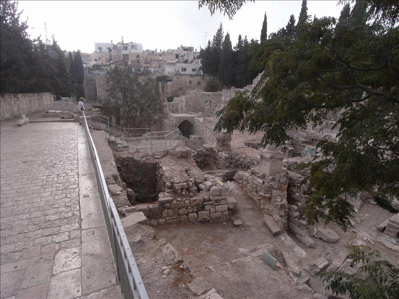 ruins surrounding the biblical pool of bethesda.