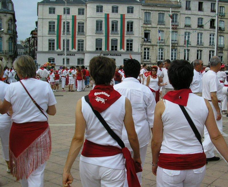 Everyone wears red and white at the Fete de Bayonne....