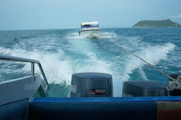 BEING TOWED, KO WUA TALAP, ANG THONG NATIONAL MARINE PARK. THE PROPELLER WAS BUST ON A ROCK