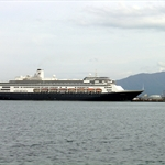 MS VOLENDAM of Holland America (Netherlands); 63,000 tons - 785feet long and 106 feet wide-620 crews- can accommodate 1,440 passengers- total 10 decks; a mid-sized ship fitted for docking at small ports of some cities,I think.
