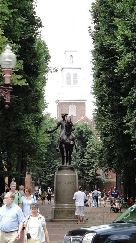 Paul Revere in front of the Old North Church