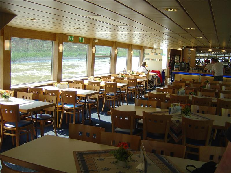 dining area inside the cruise ship