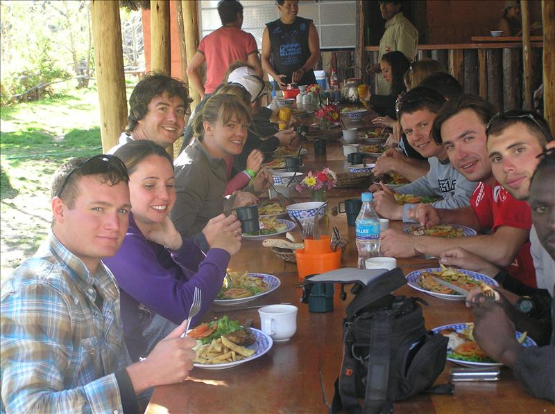 Lunching after rafting.