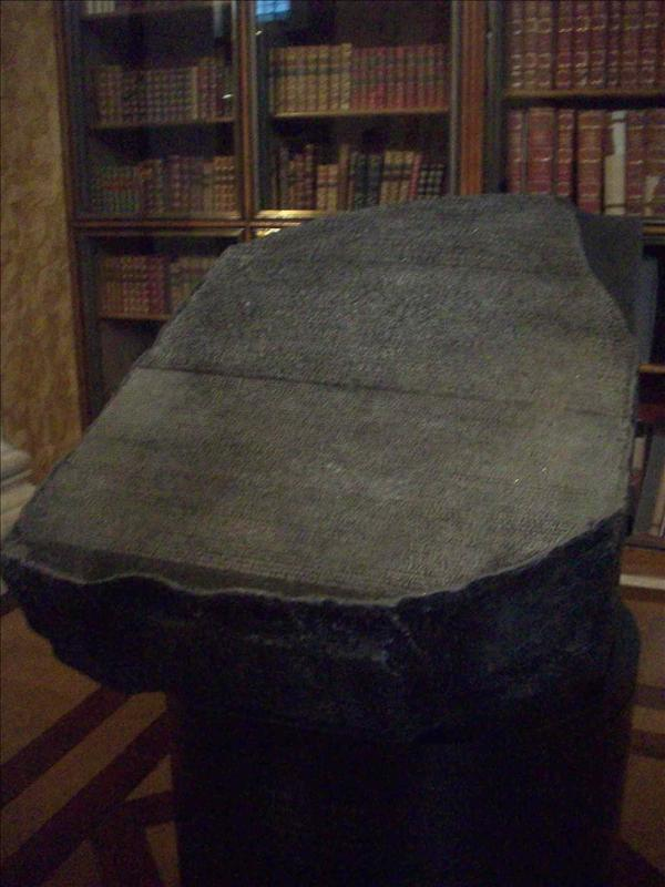 The rosetta stone, helped decode hyrogliphics