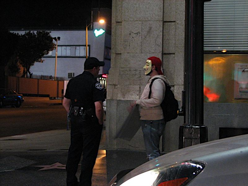 Guy Fawkes Talking to LA Cop