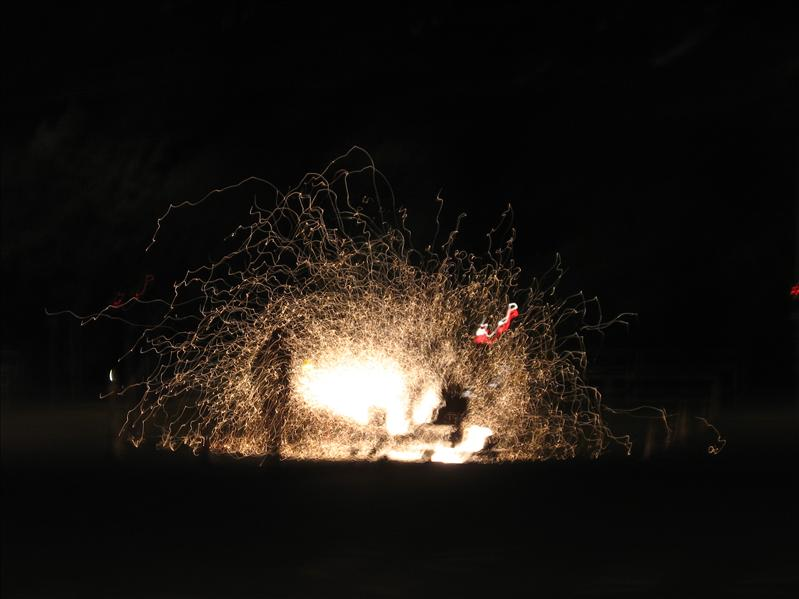 Sparks flying, street construction at night