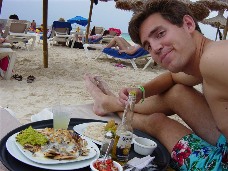 Mexican food on private beach
