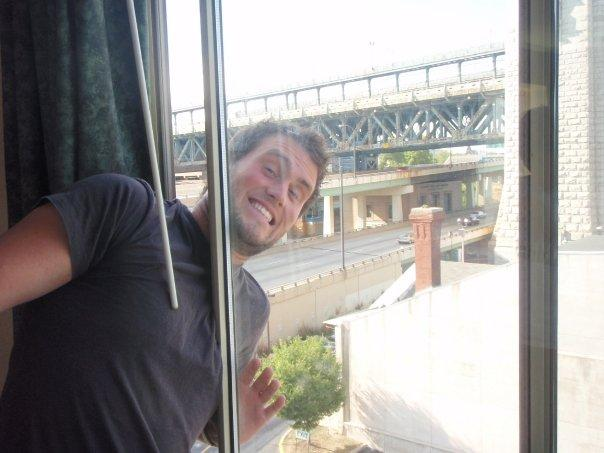 Me hanging out the hotel window