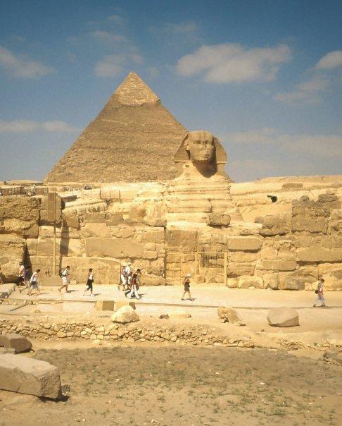 PYRAMIDS AND SPHINX AT GIZA