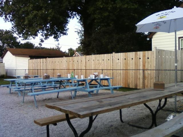 outside dining area.  The fence is new.