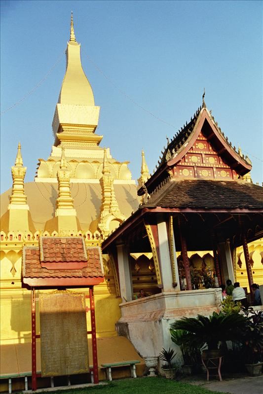 Pha That Luang (Paa T-had Lu-uang) (Great Stupa in Lao) is a Buddhist stupa in Vientiane, Laos. It was built in the 16th century under King Setthathirat on the ruins of an earlier 13th century Khmer temple, which the Lao believe was in turn built on a 3rd century Indian temple built by Buddhist missionaries from the Mauryan Empire who were sent by the Emperor Ashoka.[citation needed] Relics of The Buddha are said to be contained here.