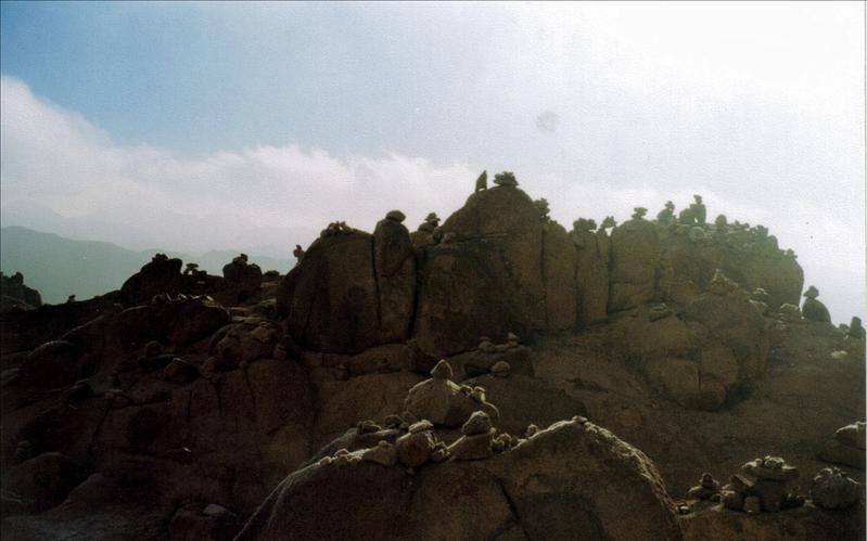 Traveler prayer stones on Mt. Sinai