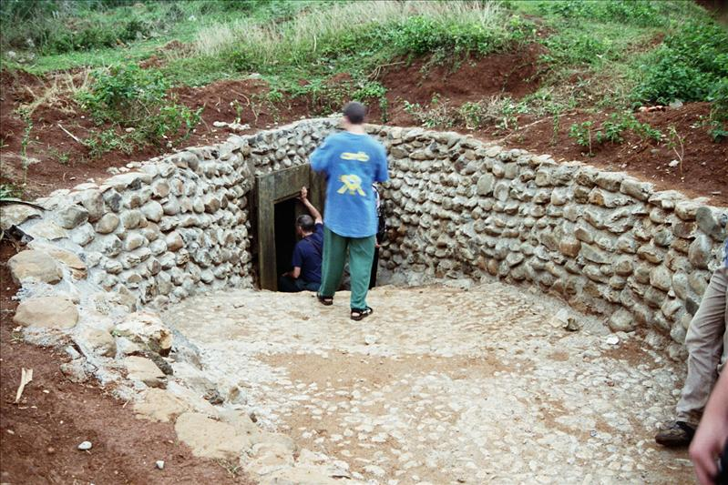 ENTRANCE TO ONE OF THE TUNNELS, WHERE A WHOLE VILLAGE LIVED FOR MANY YEARS